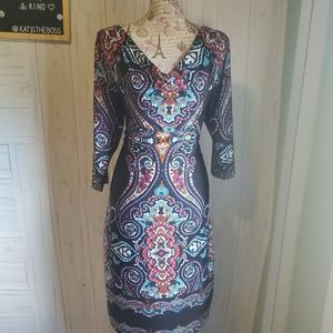 Reborn Bodycon style dress black paisley print XL